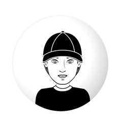 Sphere half body man with black hat vector