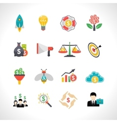 Startup crowdfunding flat icons set vector