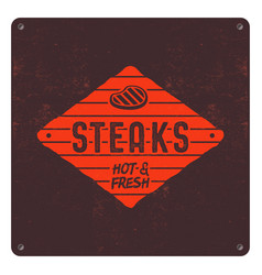 Steaks old style patch bbq retro poster barbecue vector