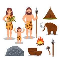 stone age symbols set primitive people mammoth vector image