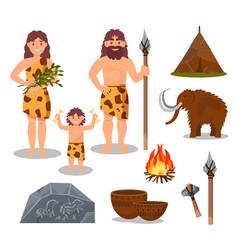 Stone age symbols set primitive people mammoth vector