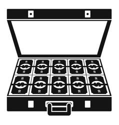 suitcase money icon simple black style vector image