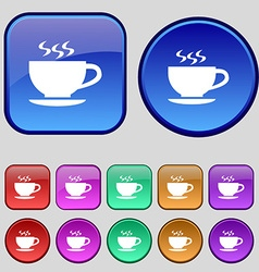 The tea and cup icon sign A set of twelve vintage vector image
