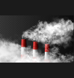 three chimneys emits thick smoke clouds ecology vector image