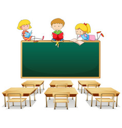 three kids in the classroom vector image
