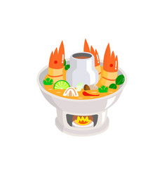 Tom yum kung in hot pot on white background vector
