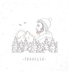 Traveler mountain vector