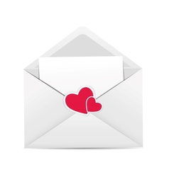 Valentines Day Card with Envelope Heart and Rose vector image