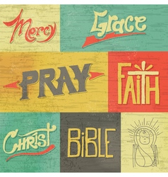 Vintage hand drawn words and images faith vector