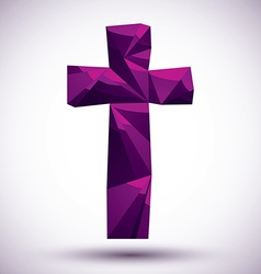 Violet cross geometric icon made in 3d modern vector