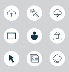 web icons set with virtual upload human and vector image