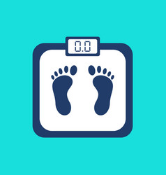 weight scale with foot print and electronic vector image