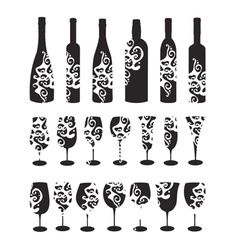 wine bottle and glasses silhouettes vector image
