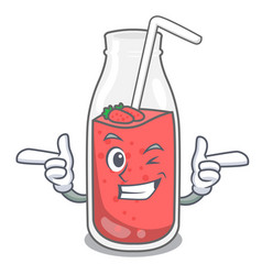 Wink strawberry smoothie character cartoon vector
