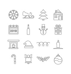 winter and holidays icon set in linear style vector image