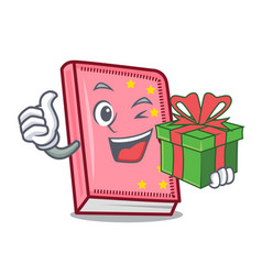 With gift diary mascot cartoon style vector