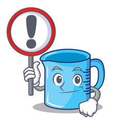 With sign measuring cup character cartoon vector