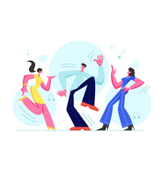 young people dancing on disco party man and women vector image