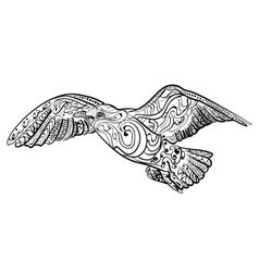 Flying seagull Black white hand drawn doodle vector image