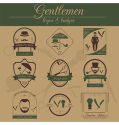 Set of vintage barber hairstyle and gentlemen club vector image