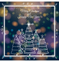 blue brightness background with christmas trees vector image vector image