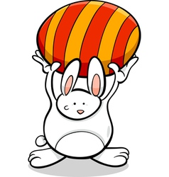 bunny with easter egg cartoon vector image vector image
