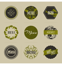 Elegant nature-themed badges in green vector image vector image