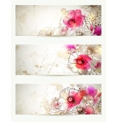 Hand drawn floral vintage Set of vector image vector image