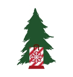 pine tree merry christmas design vector image vector image