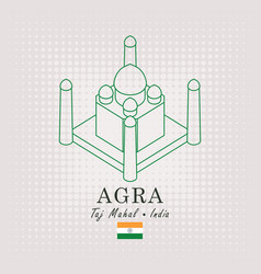 schematic drawing of the taj mahal and flag vector image vector image