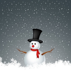 snowman with snow background vector image vector image