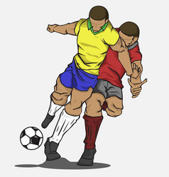 two players fighting for the ball vector image