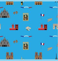 blue paris seamless pattern hand-drawn landmarks vector image