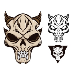 horned skull vector image vector image