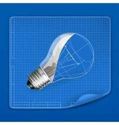 Lamp drawing blueprint vector image vector image