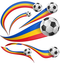 romania flag set with soccer ball vector image vector image