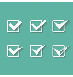 Set of six different white check marks or vector image vector image
