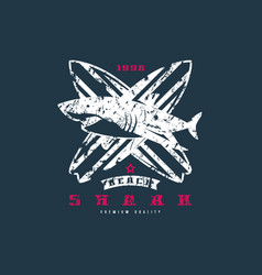 shark surfing emblem graphic design for t-shirt vector image vector image