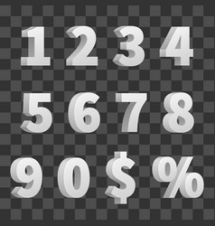 3d numbers isolated on transparent vector image vector image