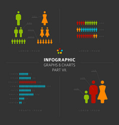 Collection of infographic people elements vector