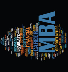 Financial value of an mba text background word vector