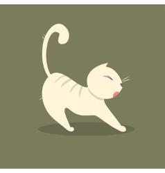 Funny fat cat stretches vector