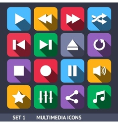 Multimedia Icons With Long Shadow vector image vector image