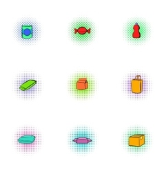 Packaging icons set pop-art style vector image vector image