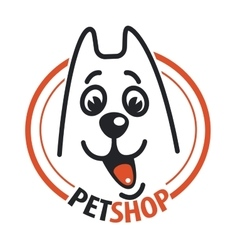 Pet shop with a dog head vector image vector image