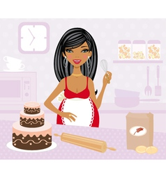Pregnant woman cooking vector image vector image