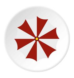 red and white beach umbrella icon circle vector image vector image