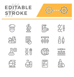 set line icons of pharmaceutical industry vector image vector image