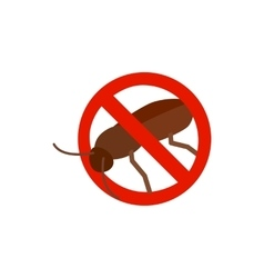 Warning sign with cockroach icon vector image vector image