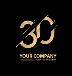 30 year anniversary luxury gold template design vector